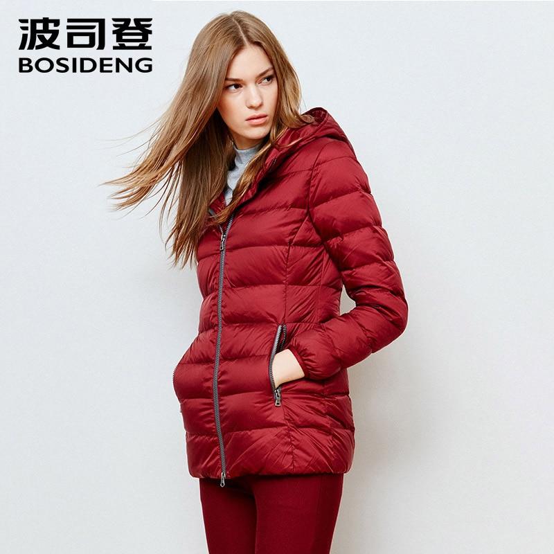 BOSIDENG women slim mid-long down coat medium-long winter down jacket hoodie thick outwear big size high quality B1501092B
