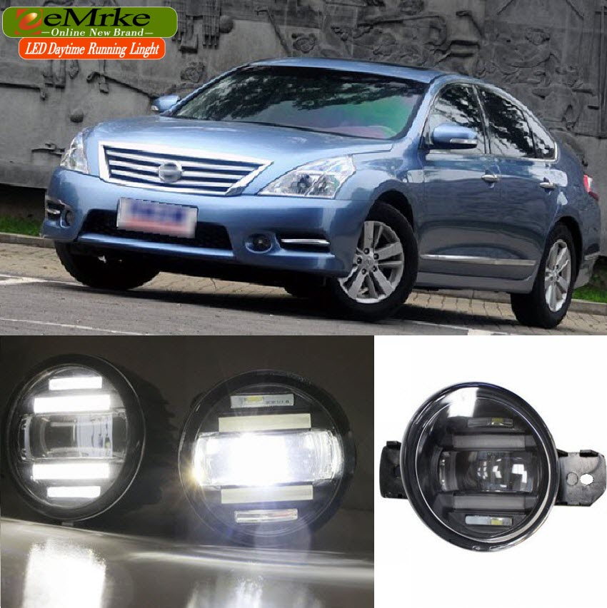 eeMrke Xenon White High Power 2in1 LED DRL Projector Fog Lamp With Lens For Nissan Teana J31 J32 L33 2004-2016 цена