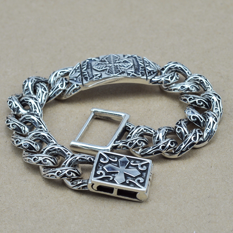 Heavy Thai Silver Men Bracelet Flower Pattern Cross Carving Vintage Rock Puck 925 Sterling Silver Jewelry Mens Bracelets 2017 new arrival 925 silver bracelet men mens bracelets