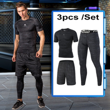 FANNAI Compression Sportswear Suits Mens GYM Tights Sports Fitness Training Jogging Quick Dry Black