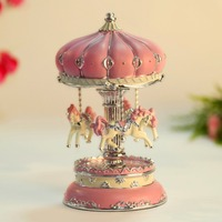 2019 Classic Carousel Horses Rotating Craft Music Box Decoration Castle in the Sky Melody Kid Children Holiday Birthday Gift