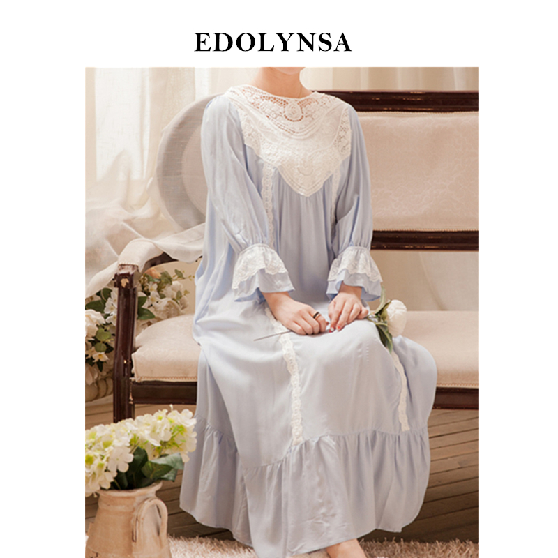 Cotton Nightgown Plus Size Vintage Sleepwear Victorian Home Dress Luxury  Medieval Nightwear Women Sleep Lounge Home Clothes H678 07b7420a0
