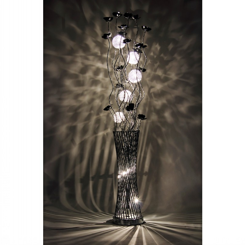 Free shipping diabolo silver spiral twisted floor standard for Aluminium flower floor lamp in silver red