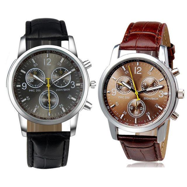 Fashion Faux Leather Mens Analog Quarts Watches Men Wrist Watch 2018 Mens Watche