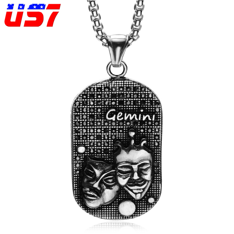 US7 Punk Gemini Charm Men Necklace Solid Casting Stainless Steel 12 Zodiac Sign Dog tags Pendants Necklaces for Men Jewelry
