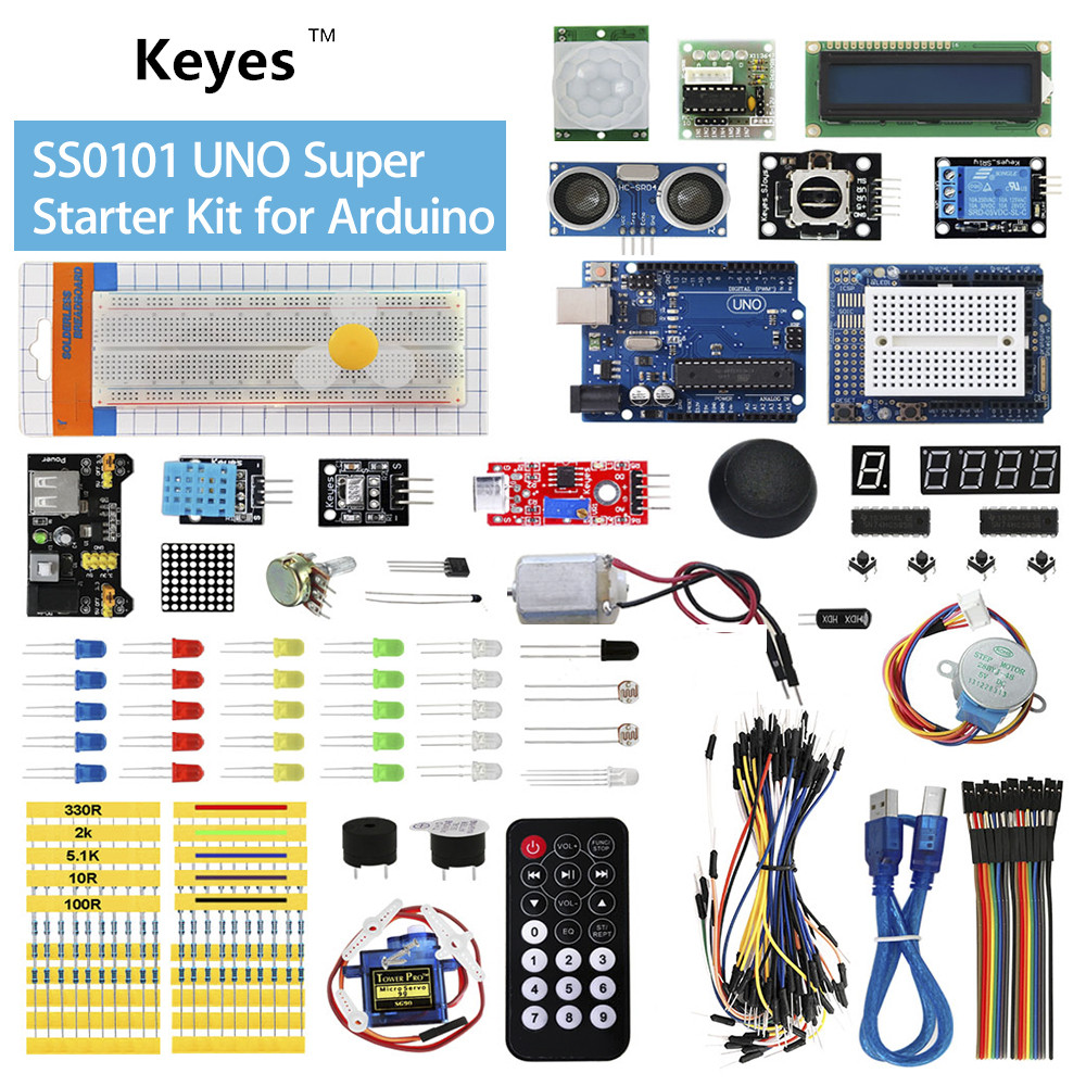 Keyes SS0101 UNO R3 LCD 1602 Super Starter Kit with Tutorials component kit for Arduino kt001 arduino uno r3 starter kit
