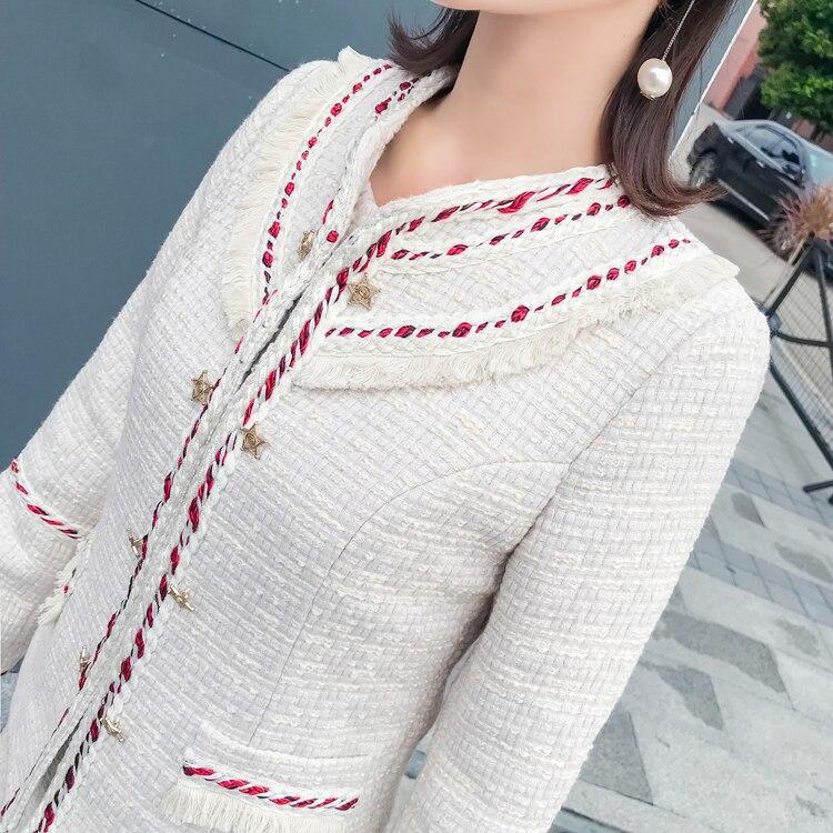 Vêtements Pièces Gland Tweed Mini Hiver Gilet Manches 2018 Dames Costumes Yilin Manteaux Robe Beige Femmes Longues Automne Deux Kay Ensembles À nwq4qYZ8