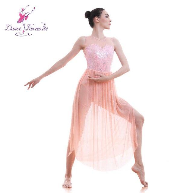 Pink Lyrical dress for stage or performance women Lyrical Ballet dress lady dance  costume girl dance bcf2a535dd47