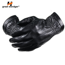Mens Genuine Leather Gloves Real Sheepskin Black Outdoor Fashion Brand Winter Warm Mittens