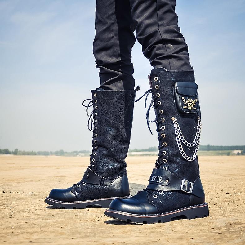 punk de couro alto sapatos masculinos rocha bota masculina quente