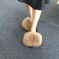 Large real fur slippers fluffy natural raccoon fur sandals slip large fox fur slipper
