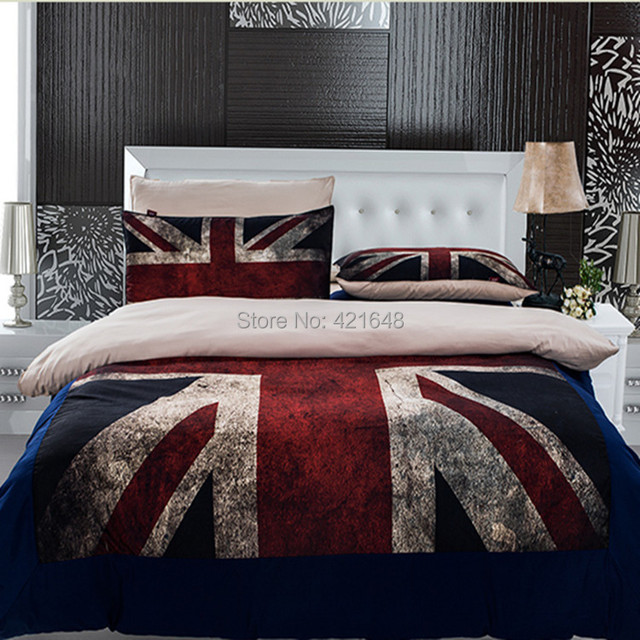 Brand-new 3pcs/4pcs UK flag Bedding Set Twin/Full/Queen Size USA flag duvet  XL92