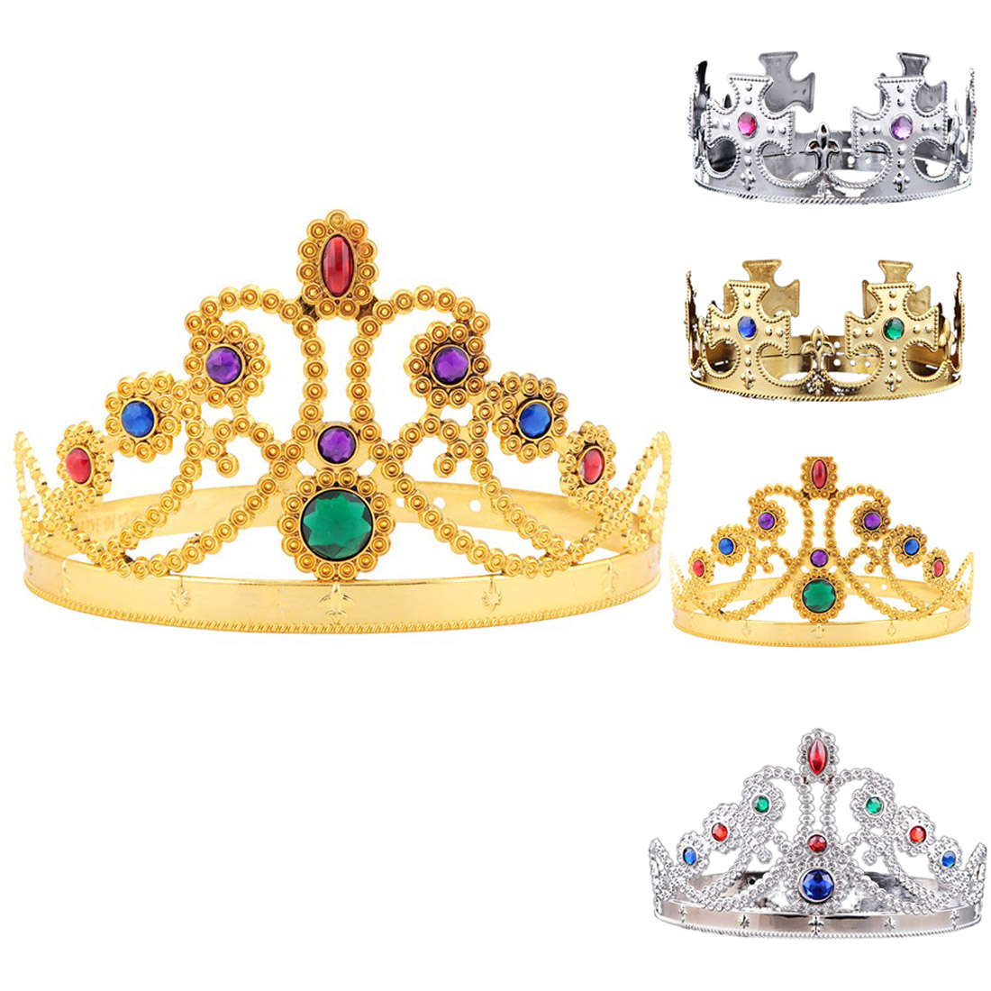 Good Quality  King Queen Princess Tiara Crystal Crown Hairband Headwear for Party for KIDS,Girls,Boys