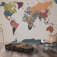 Bacaz Vintage English World Map Wall Decor 3d Mural Wallpaper for Walls Living Room Background 3d Wall paper Mural 3d Wall Mural