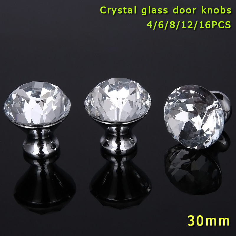 4/6/8/12/16 Pcs/Set Furniture Handle With Screw Clear Crystal Glass Door Knobs For Drawer Cupboard Cabinet Wardrobe MJJ88