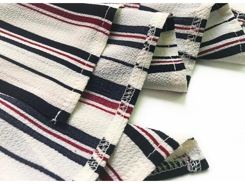 Elegant O-neck Chiffon Boho Stripe Maxi Dress