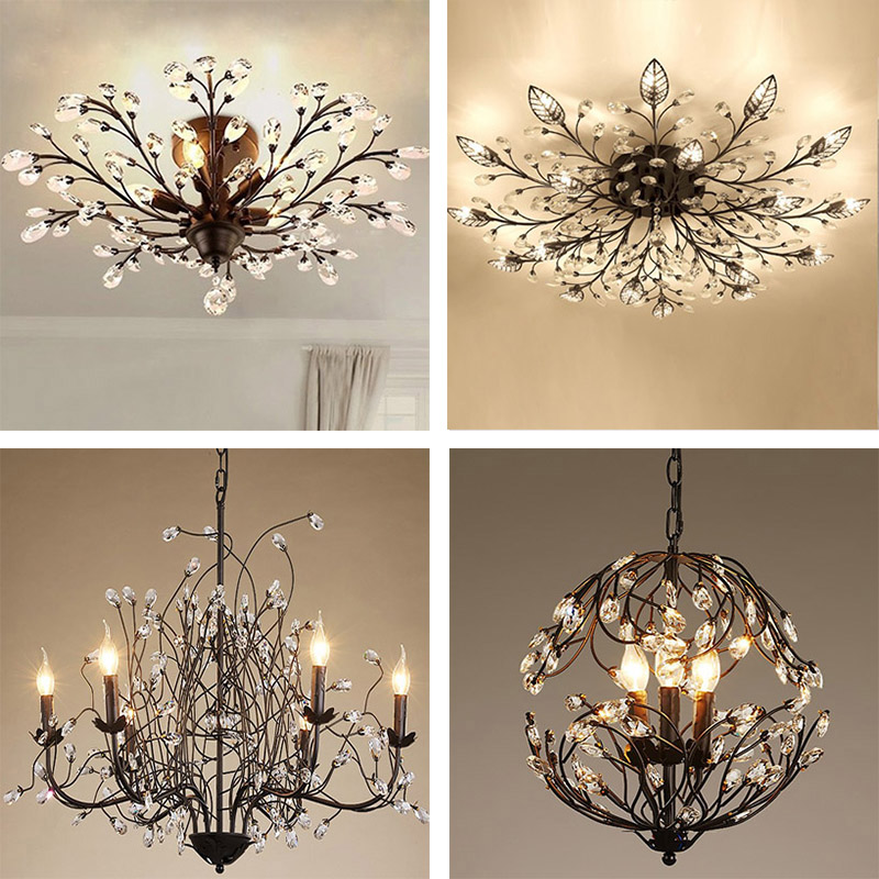 American Country Retro Crystal Droplight Chandelier Sitting Room Restaurant Tree Branch Beauty Pendant Lamp