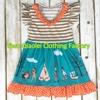 Hot Sell Thanksgiving Dress Ruffle Cotton Fabric Girl Dresses Small Inventory