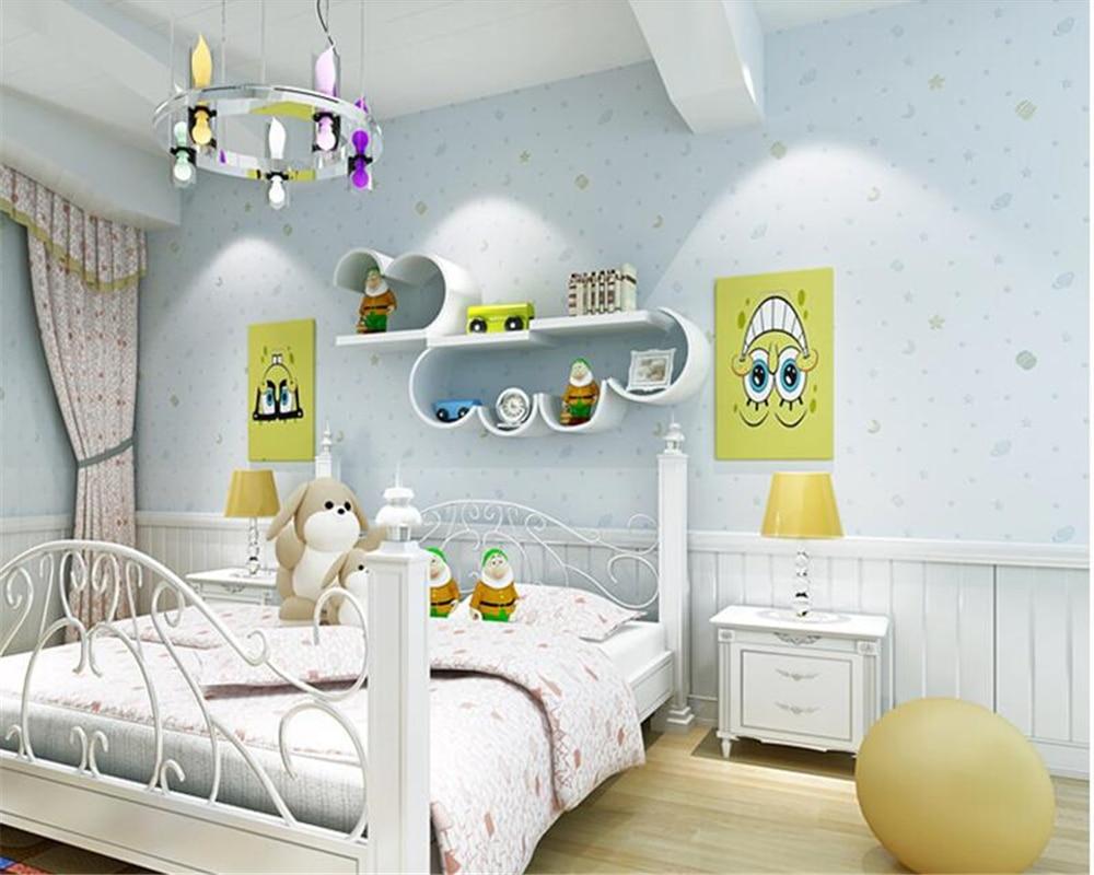 Beibehang chaud et belle mode étoile d'or lune Nonwovens papier peint papel de parede 3d garçons filles chambre enfants papier peint