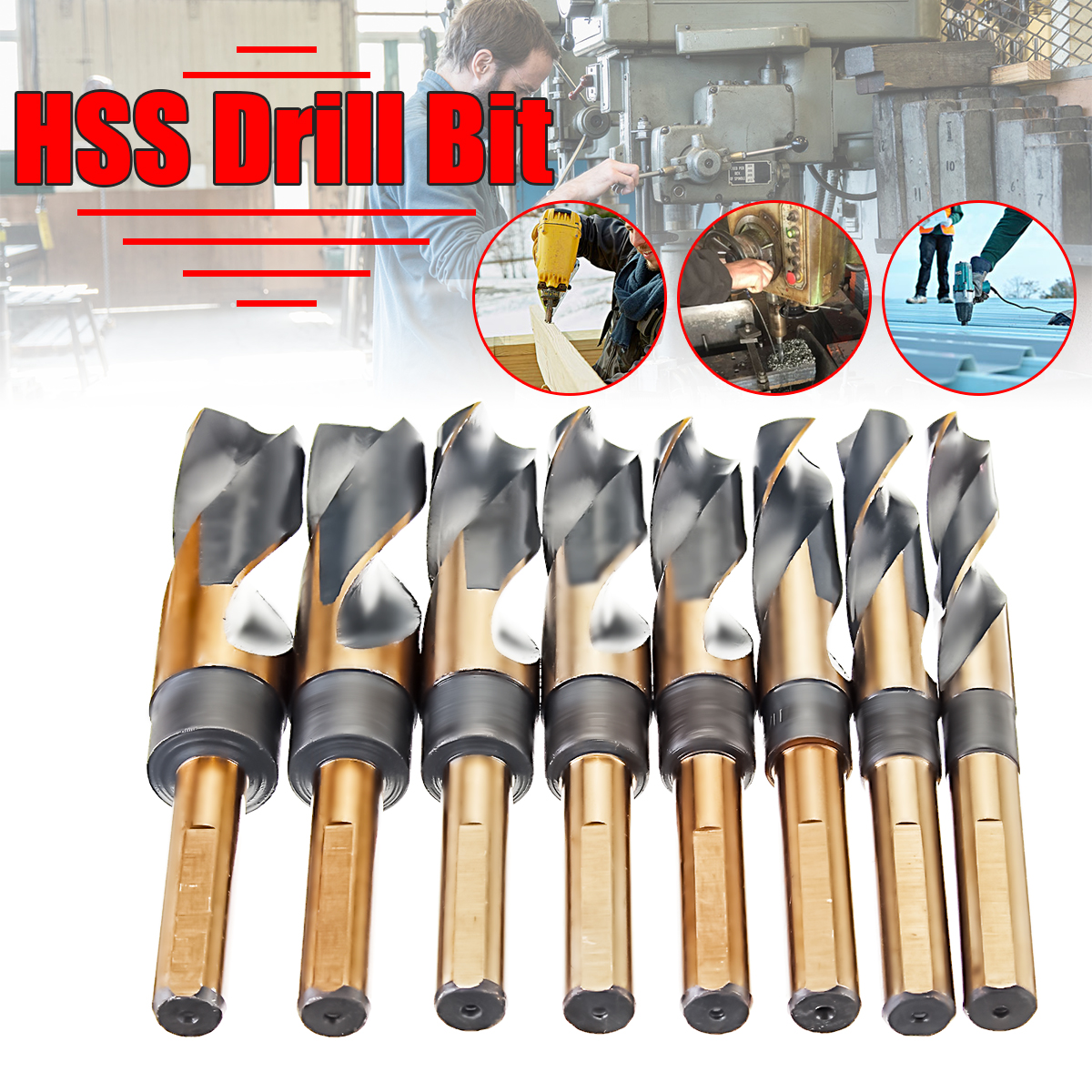 Drillpro 8Pcs 1/2 inch HSS Heavy Duty Reduced Shank Twist Drill Bit Set Stainless Coated Drill Bits Metal Metric Tools useful 17mm reduced 1 2 inch straigth shank electric hss twist drill bit tool