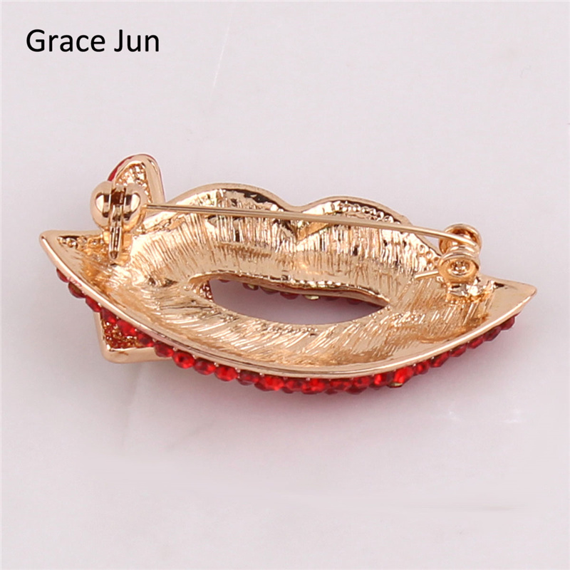 Grace Jun High Quality Red Color Rhinestone Opal Gold Brooches for Women Charm Lipstick Brooches Elegant Hijab Pin Good Gift