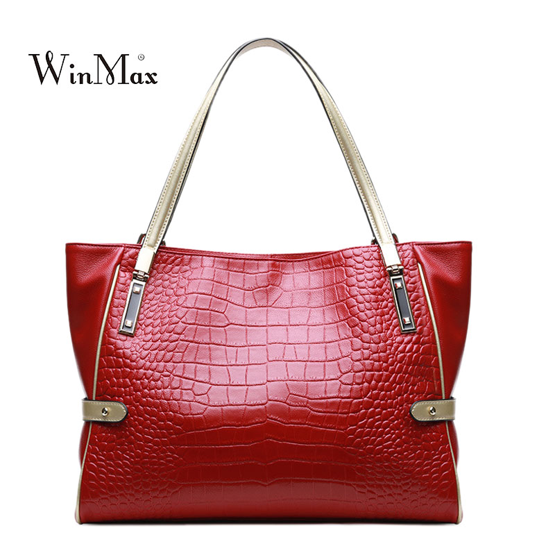 High Quality Women Genuine Leather Handbags Alligator Shoulder Bag Ladies Cow Leather Tote Bag Casual Female Handbag Sac a Main new women genuine leather handbags shoulder bag oil wax cow leather tote bags female vintage handbags sac a main ladies hand bag