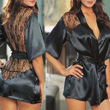Women Sexy Silk Dressing Babydoll Lace Lingerie Belt Bath Ro