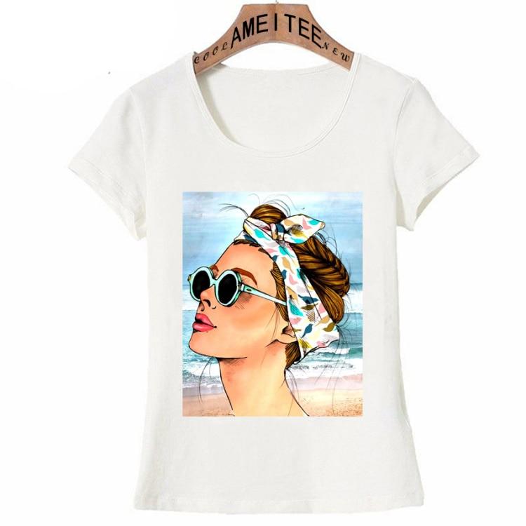 Vintage Vogue Paris Black printing Girl Shirt Summer Fashion T Shirt novelty casual Tops 27