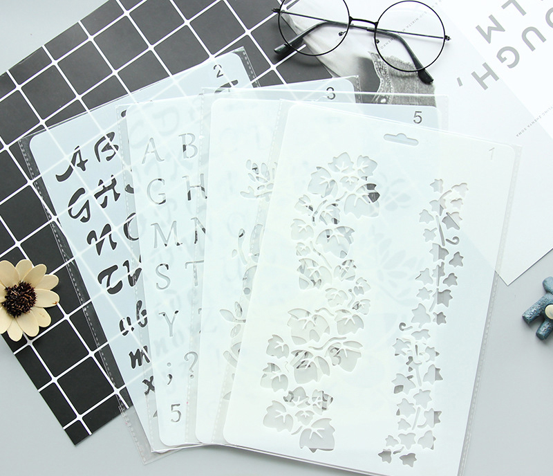 Themes Lace-up Pocket Dly Album Make-up Tools Hand-painted Paintings Hollow Template Ruler