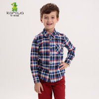 KAMIWA 2015 Autumn New British Style Boys Cotton Long Sleeve Plaid Shirts Teenage Children S Casual