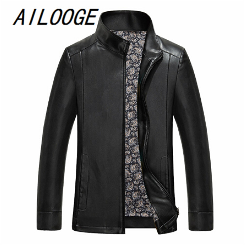 AILOOGE 2017 Autumn Winter Coat Men Leather Jacket Jaqueta Couro Masculinas Inverno Pu Sheepskin Coat Motorcycle Leather Jacket