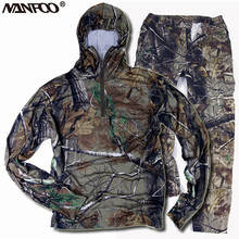Качественные хлопковые камуфляжные костюмы для охоты, рыбалки, дышащие весенне-летние камуфляжные уличные куртки с капюшоном для наблюдения за птицами, штаны