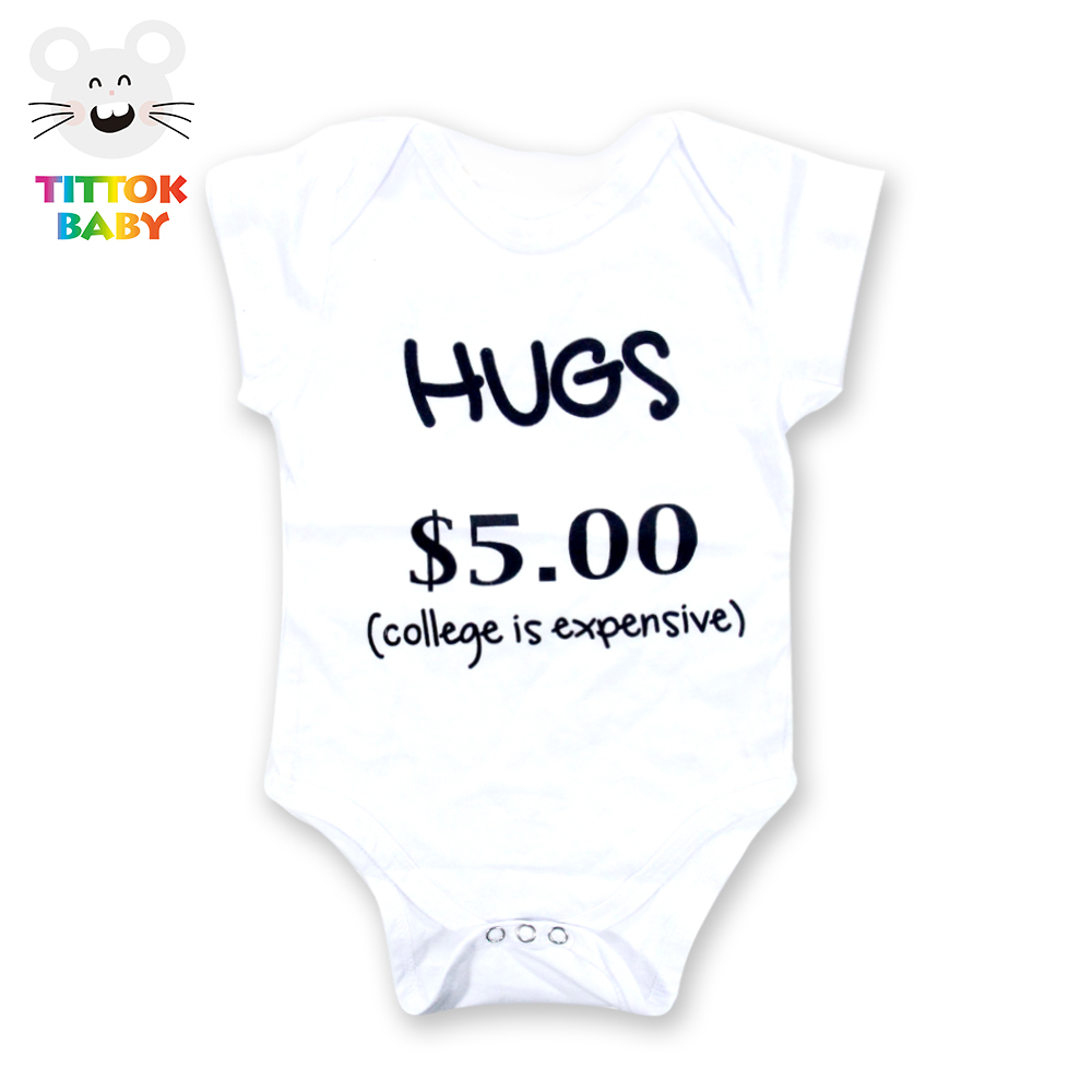 Funny Baby 2018 Hugs $5.00 Short Sleeve White Bodysuit Baby Boy Girl Clothes Tiny Cottons Newborn Bodysuits Baby Onesie Costume