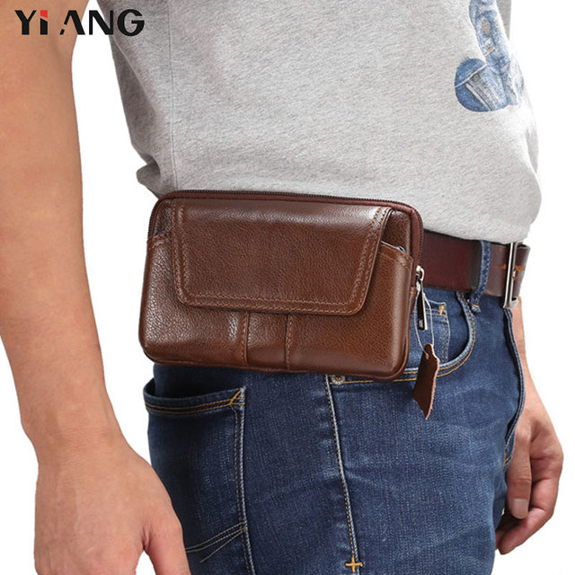 eae68ea5357a6 YIANG Vintage Small Brand Casual Men s Waist Packs Fashion Genuine Leather  Fanny Pack Belt Bag Phone