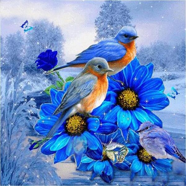 Needlework diamond embroidery Hot sale 5d diamond painting bird on a blue flower mosaic picture handmade rhinestone Home decor