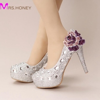 Silver Crystal Wedding Shoes Ultra High Heel Platform Bride Shoes Round Toe Graduation Party Prom Shoes