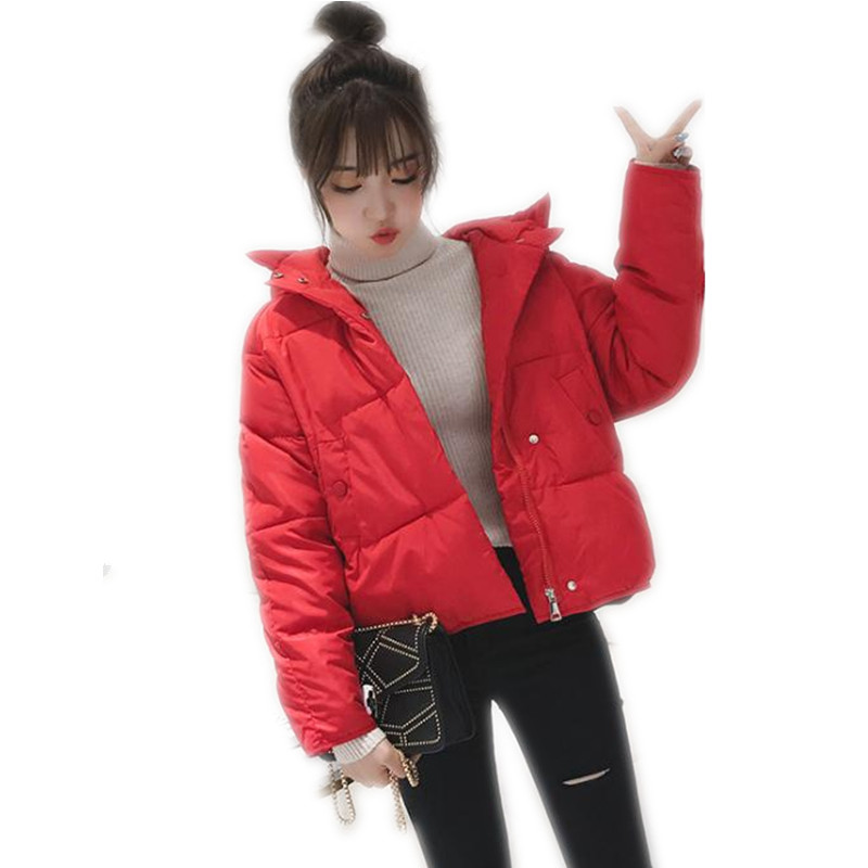 2018 New Fashion Casual Women Short   Parkas   Warm Coat Female Hooded Long Sleeve Down Cotton Jacket Women Wide-Waisted Jacket Q405