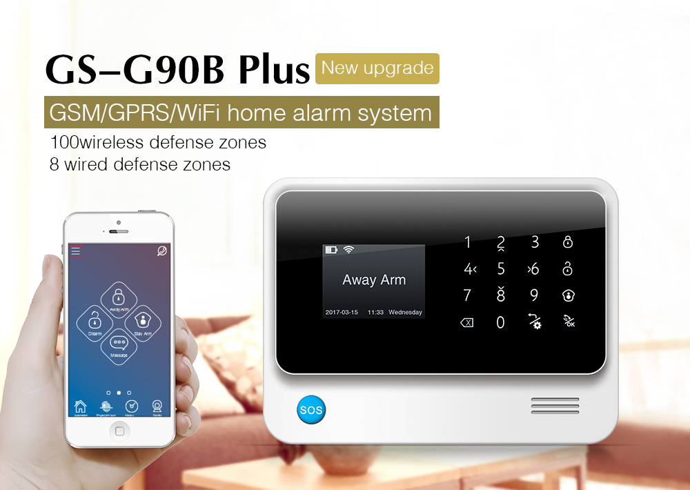 Golden Security G90B Plus WiFi GSM GPRS Wireless Home Burglar Alarm System APP Control Support CID Protocol 7