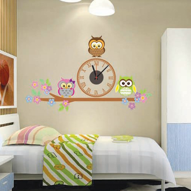 2017 hot sale owl sticker home decor electronic diy wall clocks watch living room children love bedroom decoration free shipping