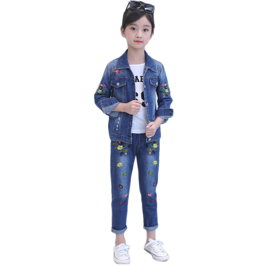 children clothing girls denim suit 3pc autumn winter girls jeans set teen cowboy clothes for kids children 4 6 8 10 12 14 years 2018 autumn winter denim kids clothes embroidery floral jacket jeans 2pcs girls spring teenage girls clothing 6 8 10 12 years