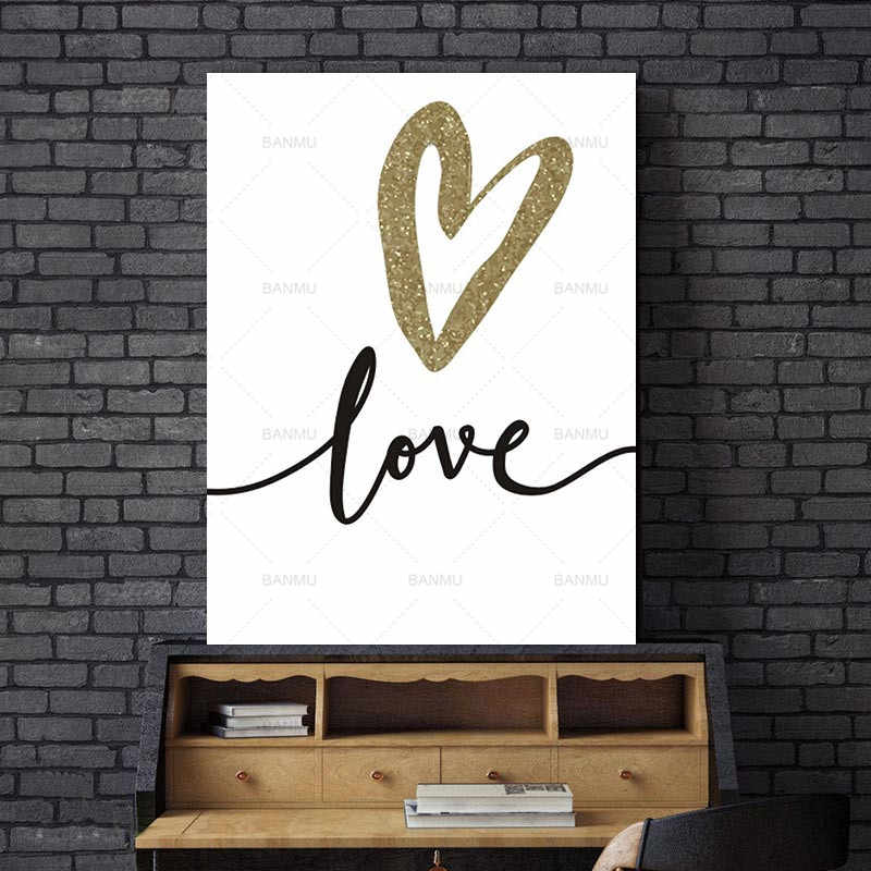 Nordic Abstract Love Letter Golden Black Wall Pictures Living Room Art Decoration Pictures Scandinavian Canvas Painting No Frame