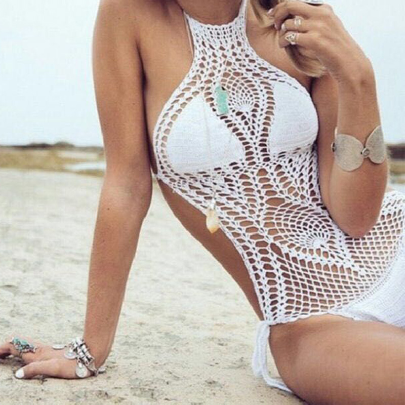 2017 New Halter Hand Make Bodysuit Bathing Suit Sexy Crochet