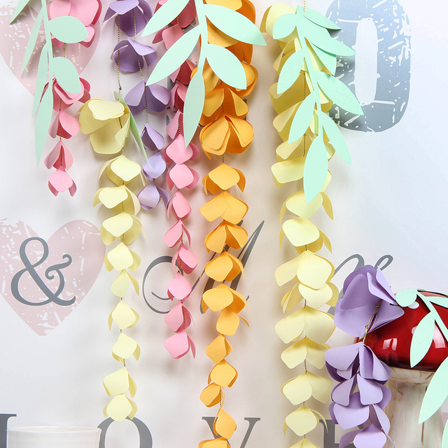 Us 5 39 10 Off Diy Hanging Paper Wisteria Paper Flower Garland Branch Decor Easter Wedding Nursery Spring Birthday Party Backdrop In Party Diy
