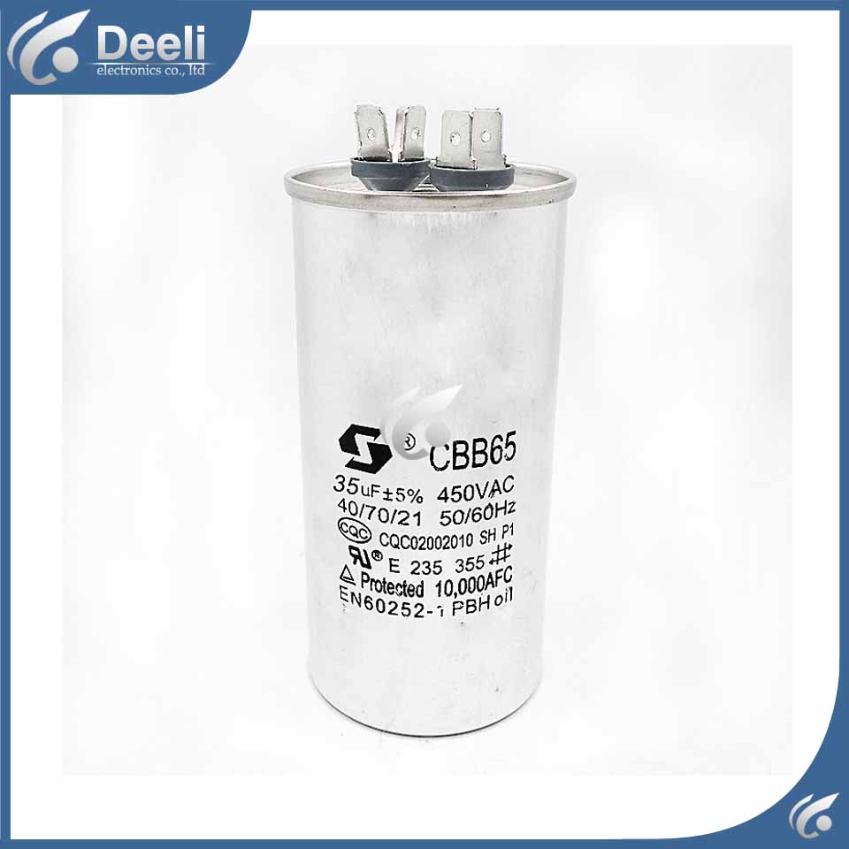 все цены на 1pcs new good working CBB65 Air Conditioning Capacitor 35UF 450V compressor start capacitor CBB65A-1 онлайн