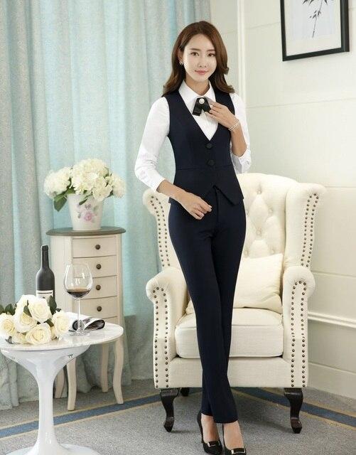 Formal 2 unidades set mujeres Trabajo Trajes con pantalones y Top Sets  chaleco y chaleco negro fe3350e0b488