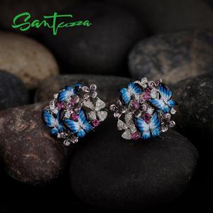 Image 5 - SANTUZZA gümüş küpe kadınlar için 925 ayar gümüş küpe kübik zirkonya narin mavi kelebek moda takı emaye