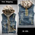 Mens Denim Vest Hooded Slim Fit Sleeveless Jeans Jacket Men Ripped Colete Masculino Casual Blue Jeans Veste Homme Size M-XXL