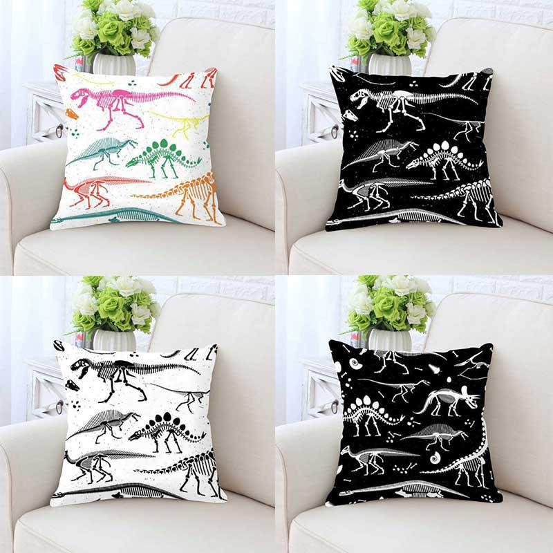New Arrival 2018 Black And White Dinosaur Cushion Color Skull Head Decorative Sofa Pillow Bedding Set For Party Decoration ...