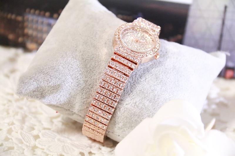Bs Bee Sister Diamond Women Watches Luxury Brand Small Dial Female Rose Gold Watches Ladies Stainless Steel Lock Bayan Kol Saati