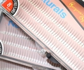 135 nudos del latigazo con encanto 3 tamaños D-lash 3 pelos humanos / nudo Natural a largo negro pestañas falsas individuales extensión Set envío gratis